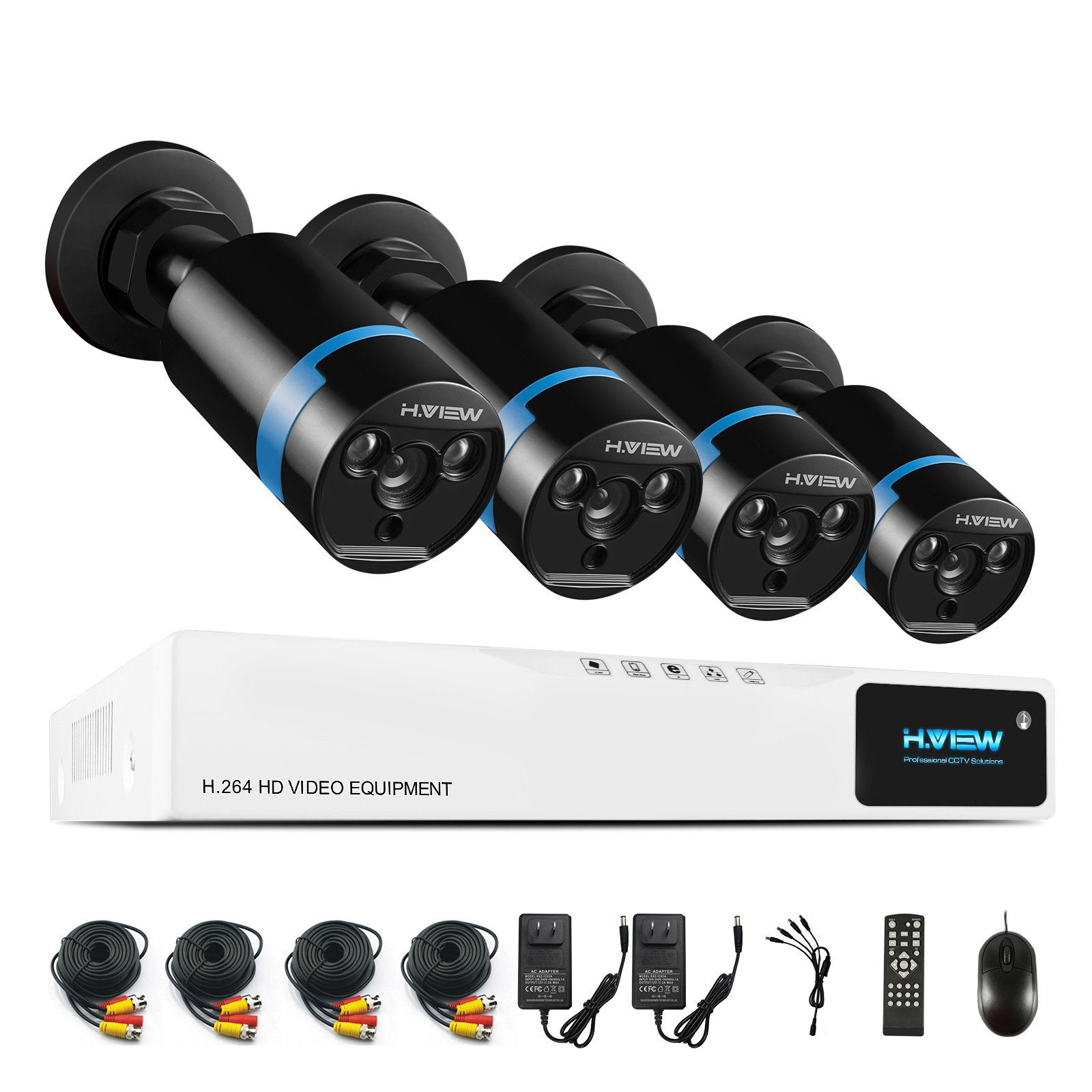 H.View 1080P CCTV System Full HD Video Security System, 4 Channel CCTV DVR Recorder, 1080P (2.0MP) Outdoor Bullet Surveillance Cameras,Smart Recording and Palyback (No Hard Drive Installed)