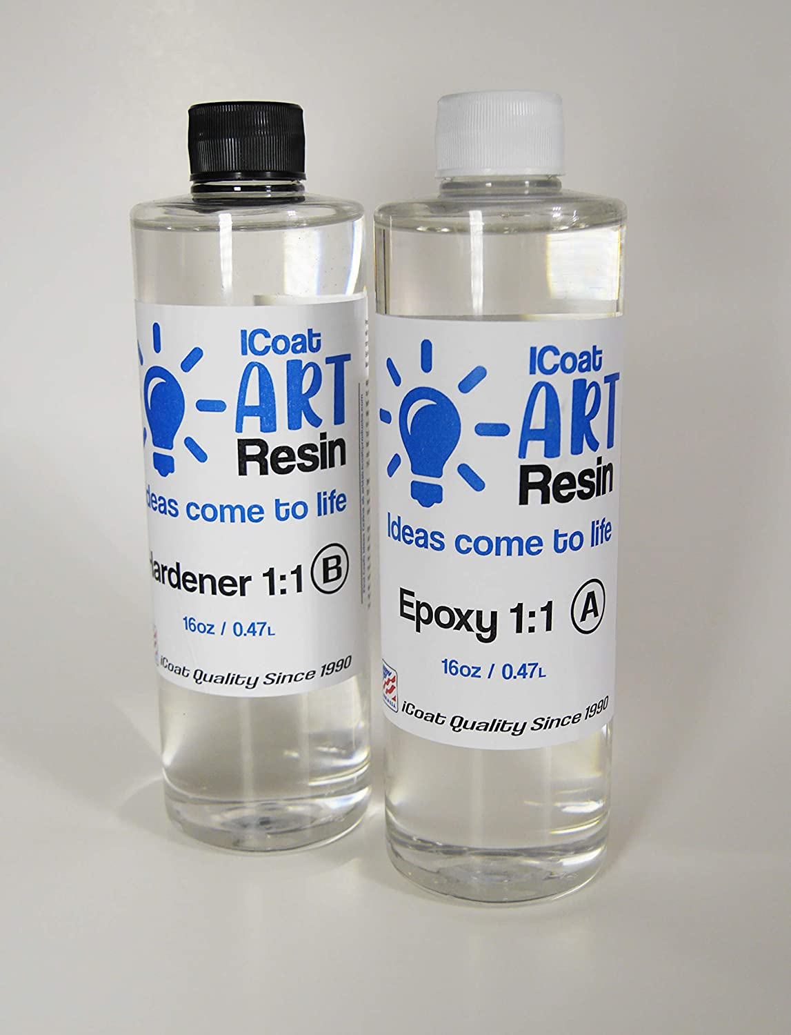iCoat Art Resin 1qt kit Crystal Clear, Non-Toxic, Epoxy and Hardener 1:1