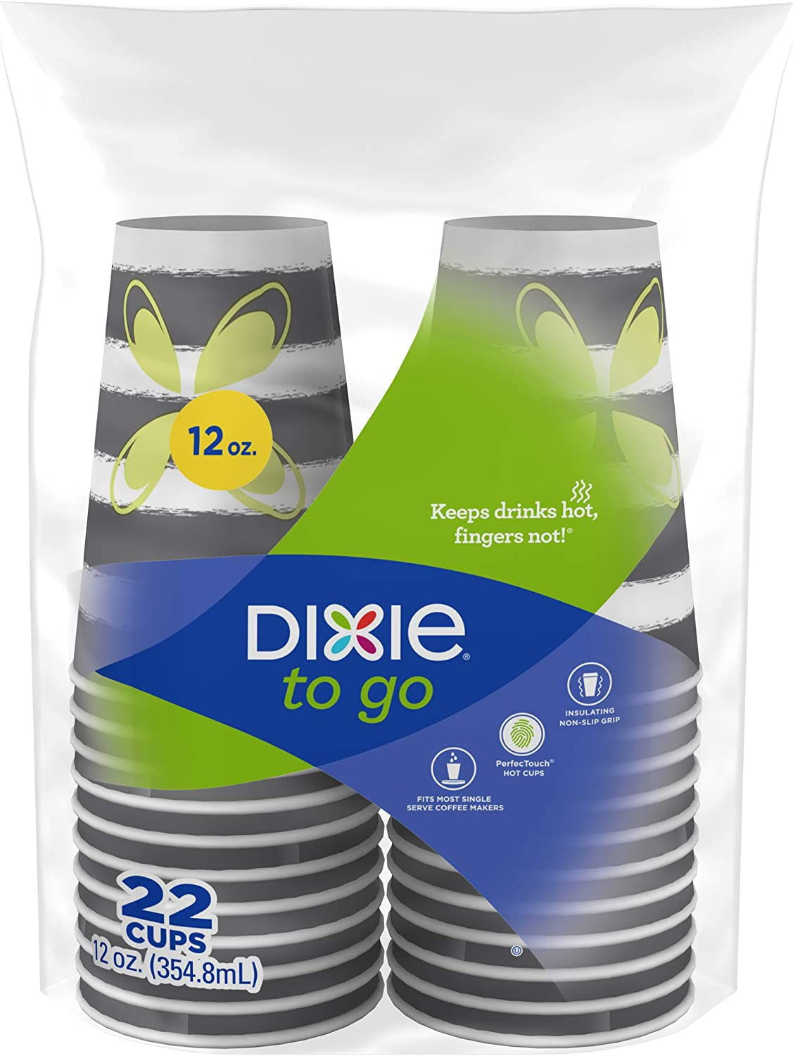 Dixie to Go Hot Beverage Cups, 12oz, 132 Count, Assorted Designs, Disposable Paper Coffee Cups, Cups Only