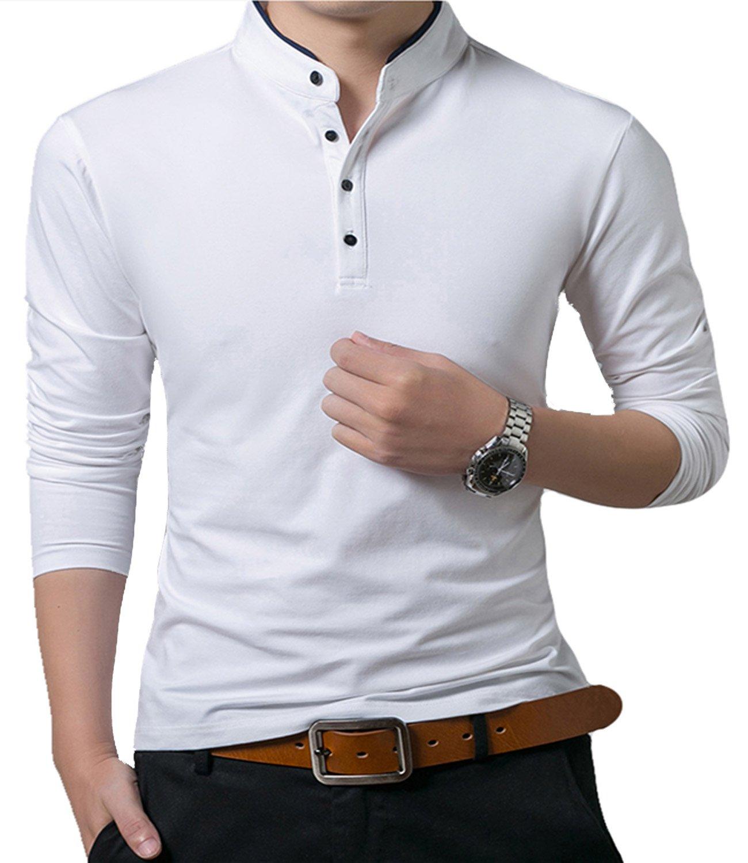 KUYIGO Mens Casual Slim Fit Basic Henley Long Sleeve T-Shirt