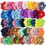 Simnice 60 Colors Silk Large Satin Hair Scrunchies Elastic Hair Bobbles Ponytail Holder Hair Scrunchy Vintage Hair Ties…
