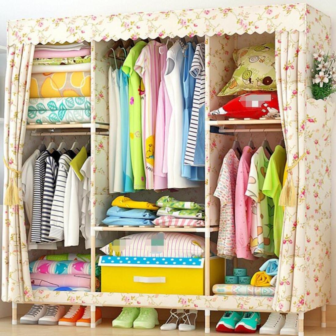 GL&G Portable Clothes Closet Oxford cloth Wardrobe Double Rod Storage Organizer Bedroom Wardrobes Clothing & Wardrobe Storage Foldable Closets,C,67''58''