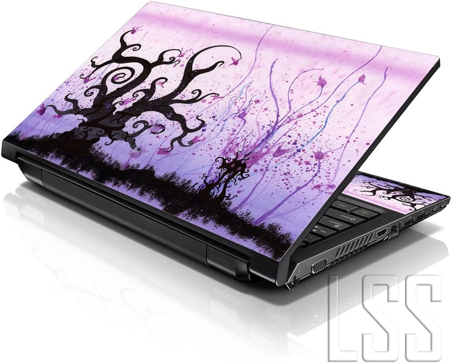 """LSS Laptop 117-17.3"""" Skin Cover with Colorful Futuristic Trees Light Purple Pattern for HP Dell Lenovo Apple Asus Acer Compaq - Fits 16.5"""" 17"""" 17.3"""" 18.4"""" 19"""" (2 Wrist Pads Free)"""