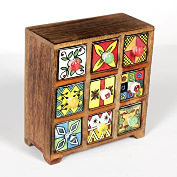 6bad24e8696 Buy Universal Art 9-Drawer wooden Chest with Ceramic Drawers Online at Low  Prices in India - Amazon.in