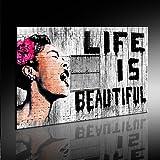 """Impression sur toile Graffiti """"Banksy"""" - Image 100x70cm ! ! Pop Art peintures estampes, peintures, photos de décoration - Décoration / Top 200 """"Banksy"""" Street Art"""
