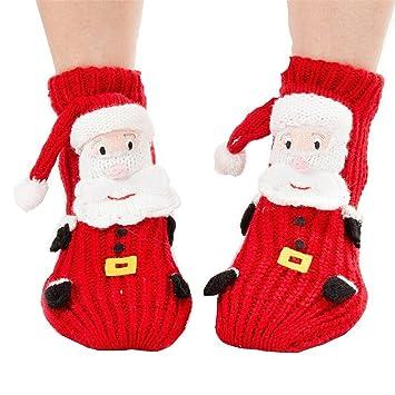 Coxeer calcetines de Navidad 3D animales hogar piso antideslizante calcetines para mujer (Cute Santa Claus): Amazon.es: Hogar