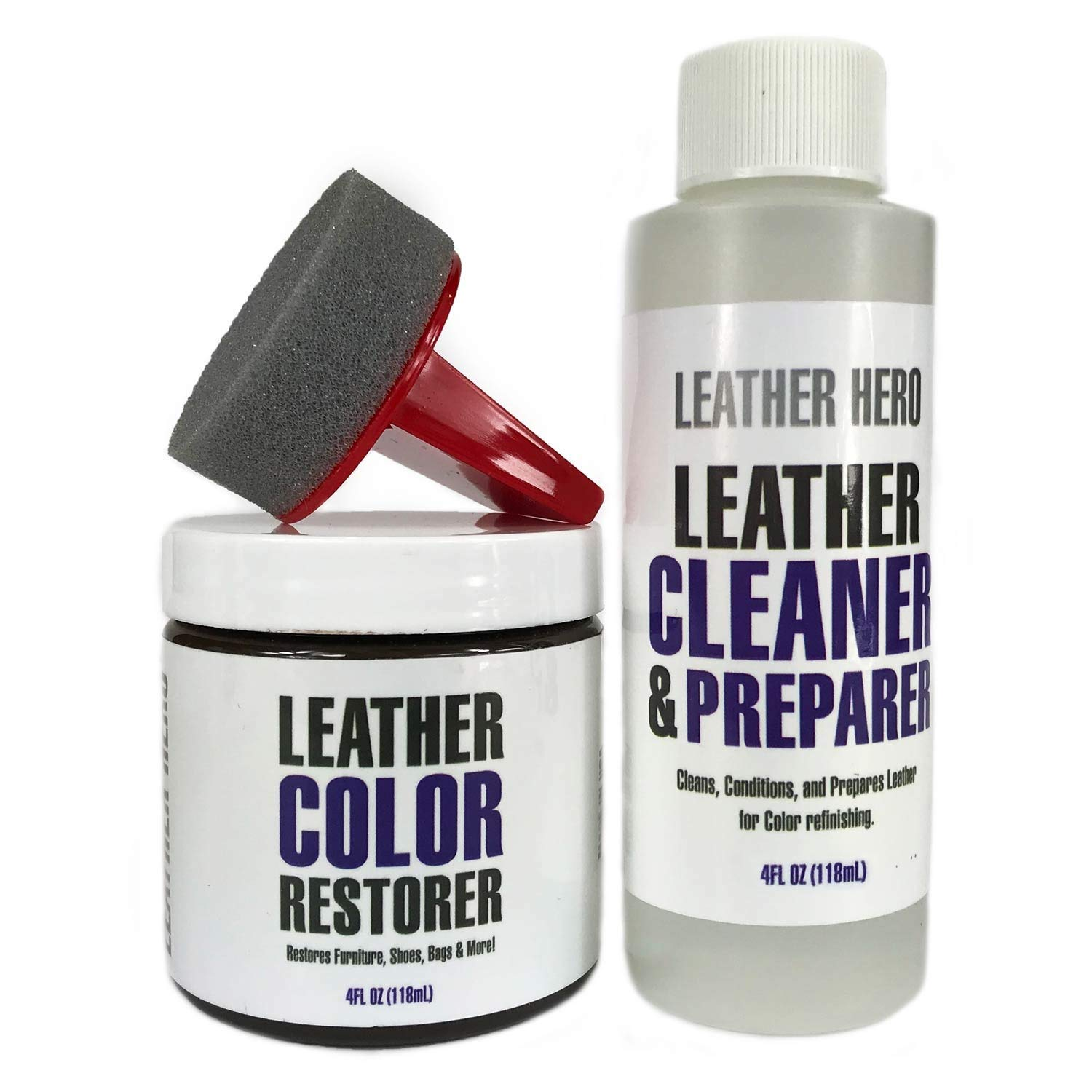 Leather Hero Leather Color Restorer Repair Kit- Refinish, Recolor, Renew Leather & Vinyl Sofa, Purse, Shoes, Auto Car Seats, Couch 4oz (Cream)
