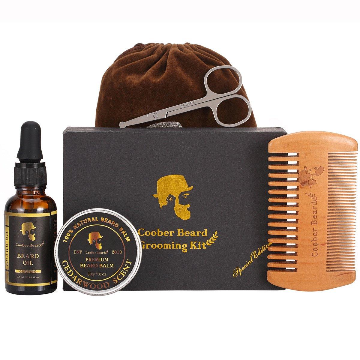 KEYNEW Men Beard Care Grooming & Trimming Kit 30ml Woody Scent Beard Oil, 30g Mustache & Beard Balm Wax, Wooden Beard Comb, Solid Barber Scissors, Storage Pouch, Gift Box for Bearded Men, Travel Essential Set