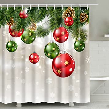 Christmas Shower Curtain Sets, Christmas Baubles And Ornaments On Pine Tree  Twig Printing,Xmas