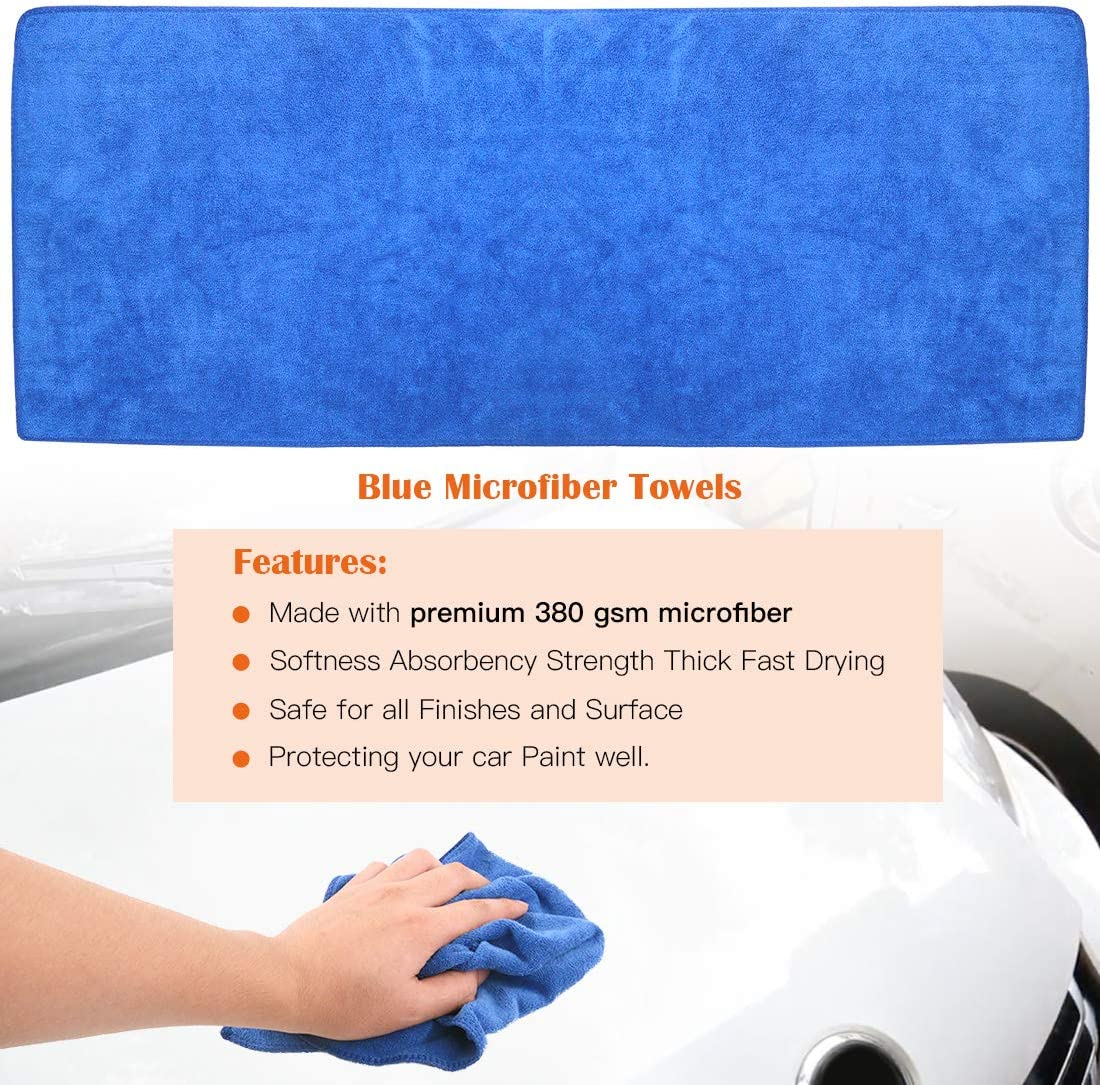 2 Pcs Car Wash Sponges and 1 Piece Microfiber Car Drying Towels Vehicles Cleaning Rustark 3 Pcs Car Clay Bar 175g Auto Detailing Magic Claybar Glass Free Sealed Storage Box for Car