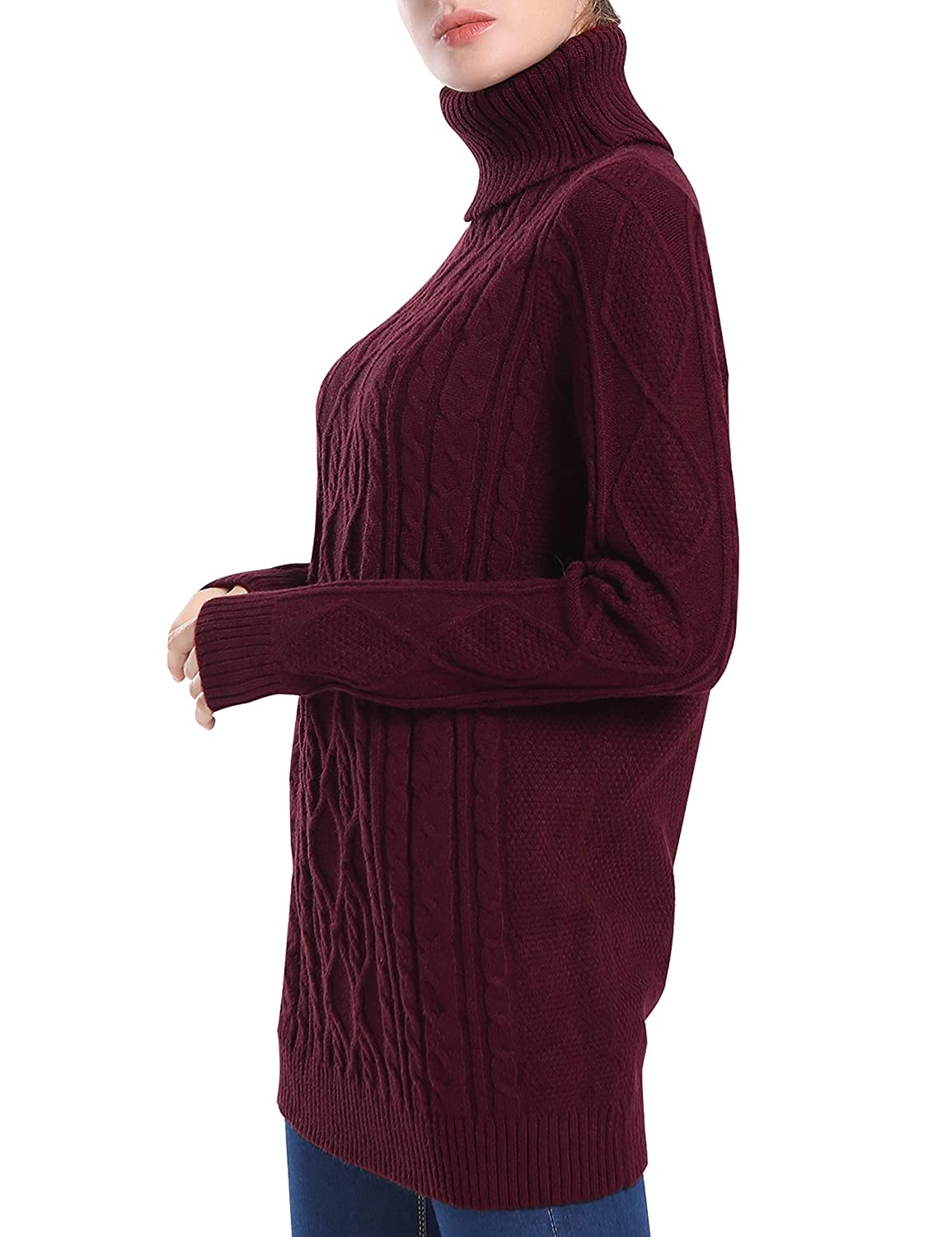 PrettyGuide Women s Long Sweater Turtleneck Cable Knit Tunic Sweater Tops  at Amazon Women s Clothing store  2e277fb3c