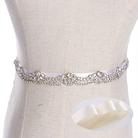 Silver Thin Wedding Dress Belts And Sashes Clear Rhinestone Sewing ...
