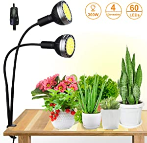 300W Plant Grow Light, Bozily Full Spectrum LED Grow Light,4 Dimmable Sunlike Plant Lights with 2 Replaceable Light Bulbs, Artificial Sunlight Lamp for Seedling Starting Indoor Plants Seeds Growing