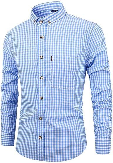 Rawdah Camisas Hombre Manga Larga Camisas Hombre Grandes Camisas Hombre Traje Slim Fit Camisas Casual Camisa de Manga Larga con Botones de Manga Larga para Hombre Informal Camisas: Amazon.es: Ropa y accesorios