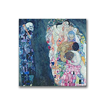 Death And Life By Gustave Klimt 14x14 Inch Canvas Wall Art