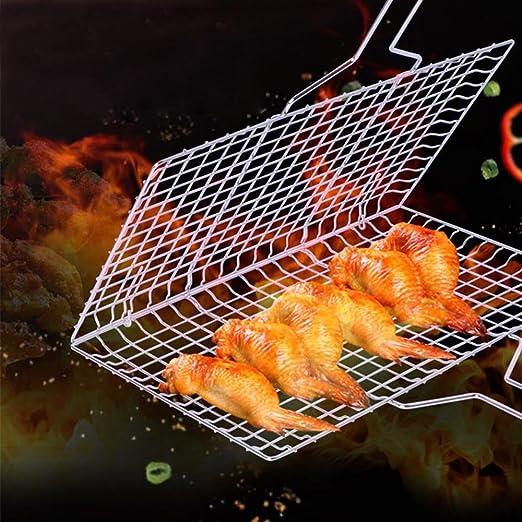 AOLVO - Cesta para Barbacoa portátil de Acero Inoxidable 430 con Mango de Madera extraíble para cocinar Pescado y Verduras: Amazon.es: Hogar