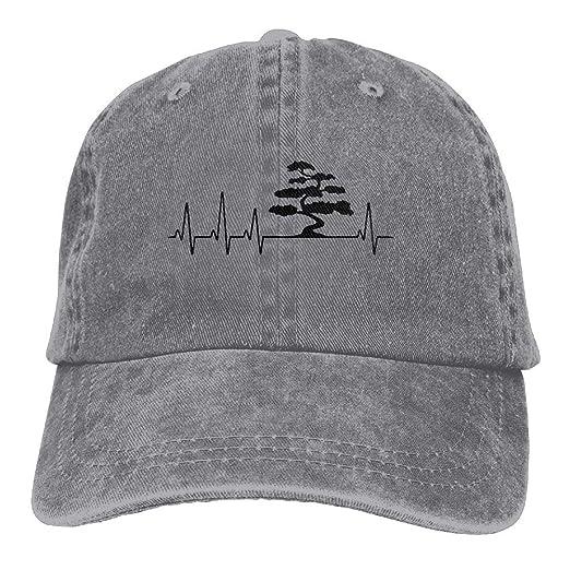 a60b64e7a0073 Bonsai Tree Heartbeat1 Men s Women s Cotton Denim Jeanet Hip-hop Cap  Adjustable Jeans Baseball Hat