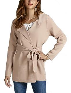 ba4123b453 BTFBM Women Lapel Long Sleeve Knit Sweater Coat Draped Open Front Kitted  Cardigan Outwear with Belt