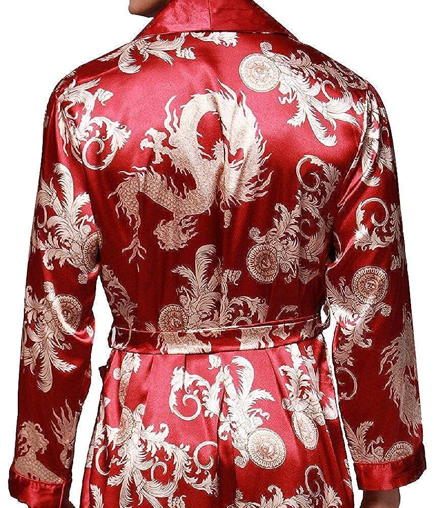 V/êtement de Nuit L-3XL HAINE Homme Kimono en Soie Robe de Chambre Peignoir de Bain Satin Pyjama