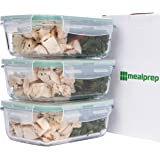 Premium Glass Meal Prep Food Storage Container 6-Piece Set with Snap Locking Lid, BPA-Free, Airtight, Leakproof, Microwave, Oven, Freezer, Dishwasher Safe (3.5 Cup, 28 Oz, Rectangle)