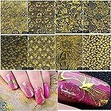 8 sheets Indian bindis bollywood jewelry rose gold chain NAIL DECALS bridal nail wraps gold nugget nail stamping acrylic NAIL ART STICKERS nail vinyls French tip