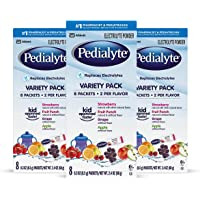 Pedialyte Electrolyte Powder Variety Electrolyte Hydration Drink 0.3 oz Powder Packs, 24 Count
