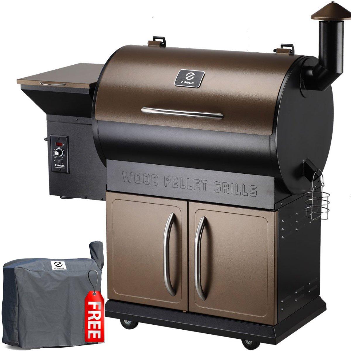 Z GRILLS ZPG-700C Wood Pellet Grill & Smoker, 700 sq. in. Bronze/Black