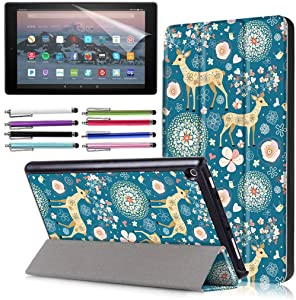 EpicGadget Case for Amazon Fire HD 10 Inch Tablet (9th/7th Generation, 2019/2017 Released) - Lightweight Tri-fold Stand Auto Wake/Sleep Folio Cover Case + 1 Screen Protector and 1 Stylus (Deer Garden)