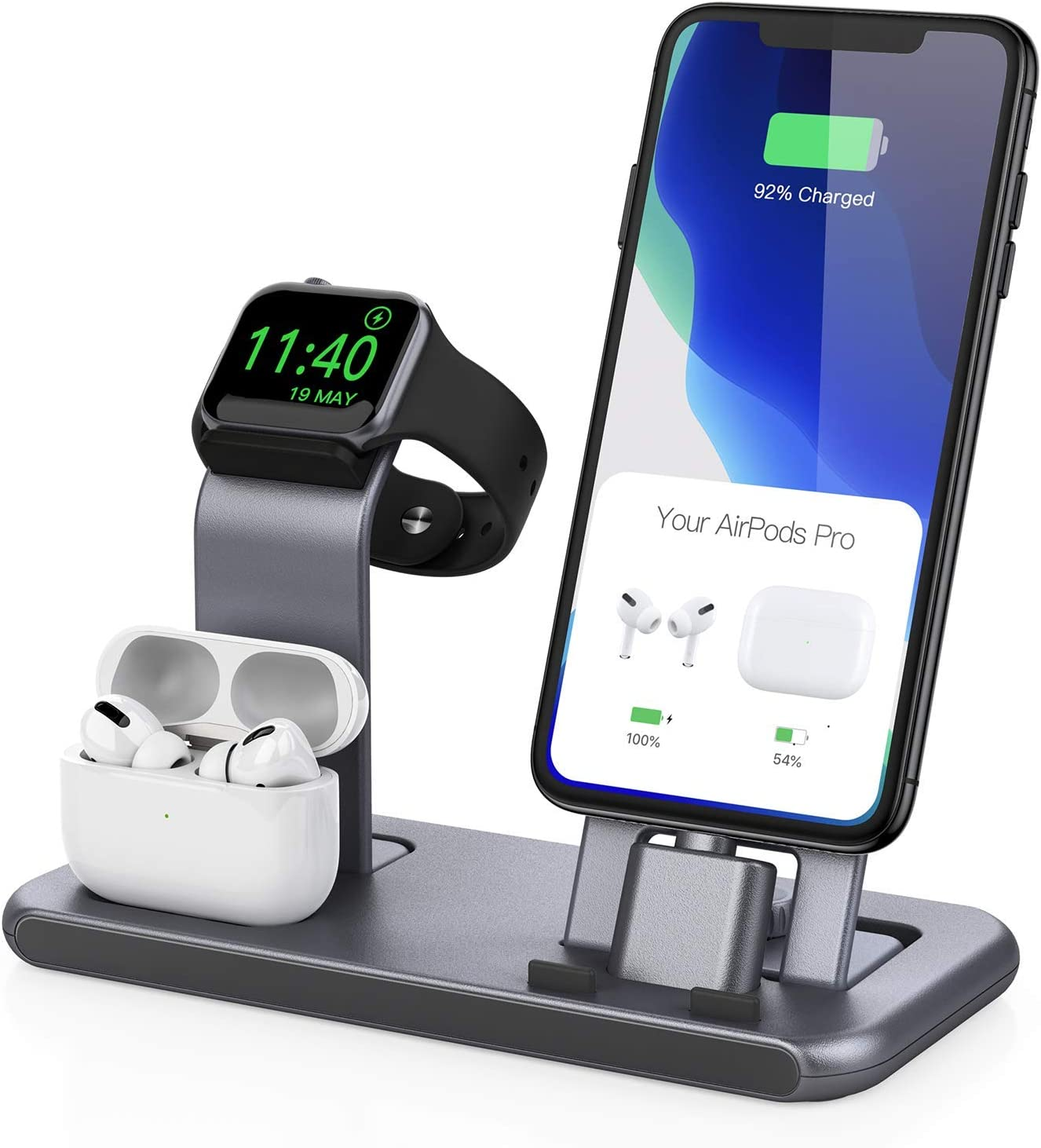 Conido 3 in 1 Charging Station for Apple Products, Stand for Apple Watch SE/6/5/4/3/2/1, for AirPods Pro/2/1 Charging Dock, Charger Station for iPhone 12 mini/12 Pro Max/SE/11Pro Max/XS Max/XR/8 Plus