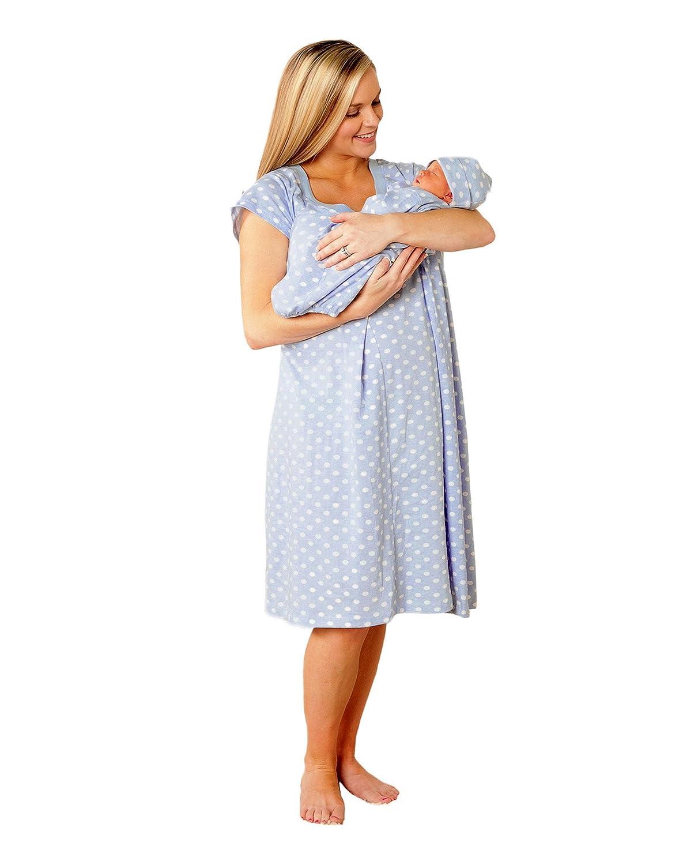 Amazon.com: 100% Cotton Maternity Nursing Nightgown Pregnancy ...