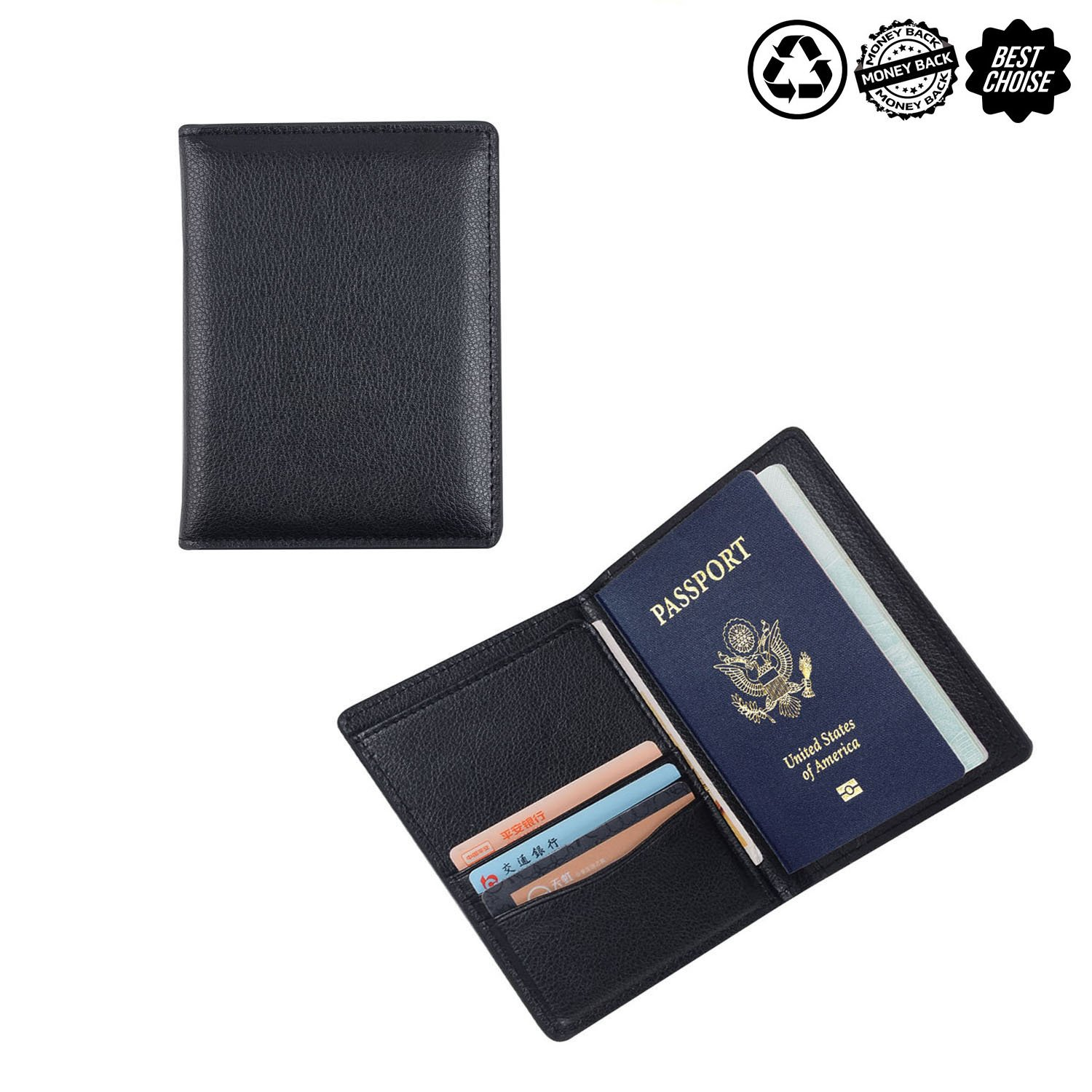 Leather Passport Holder Passport Cover Case Wallet for Men Women Travel (pu leather)