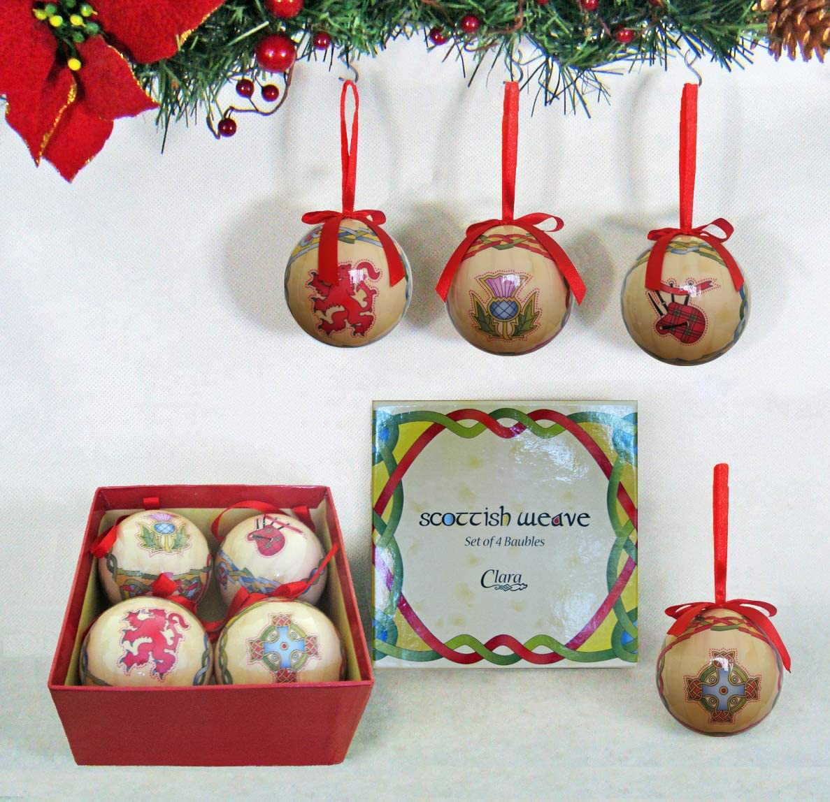 Royal Tara Scottish Emblem Christmas Baubles Set of 4