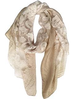 132fb4cddf752 DAMILY Écharpe Foulard Femmes Élégantes Hiver Broderie Dentelle Châle Etole  Longue Soie Comme Hijab Wrap