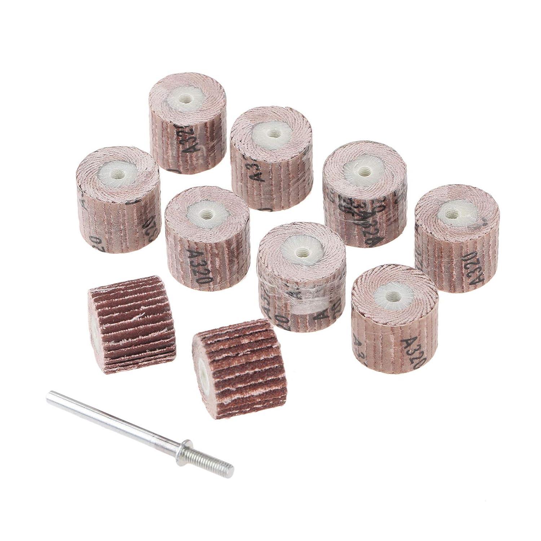 10PCs Mini Abrasive Tools Flap Wheel with 1pc Mandrel Sanding Sandpaper Grinding for Dremel Rotary Paper Polishing for Woodworking 180 Grit 15CM