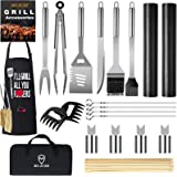 MUJUZE Grill Set,Grill Utensils Set BBQ Grill Tools,Barbeque Grilling Accessories with Apron, Stainless Steel Grill Kit Set G
