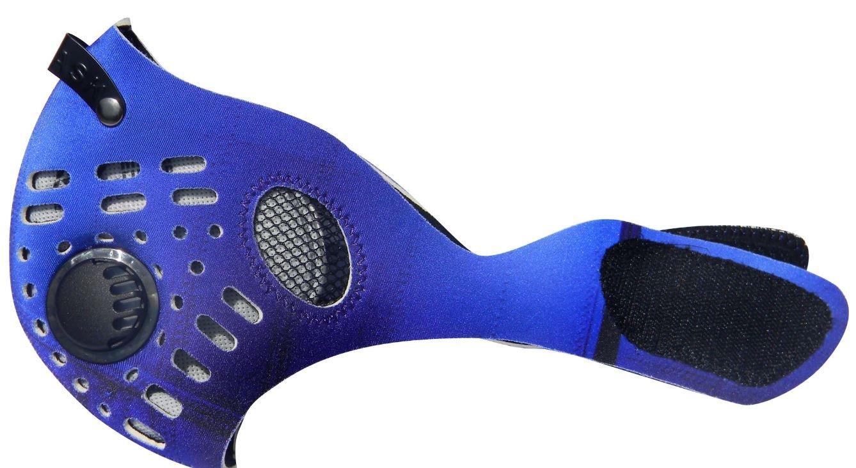 RZ Mask Blau – Atemschutzmaske mit Aktivkohlefilter plus 1 Filter und Etui gratis