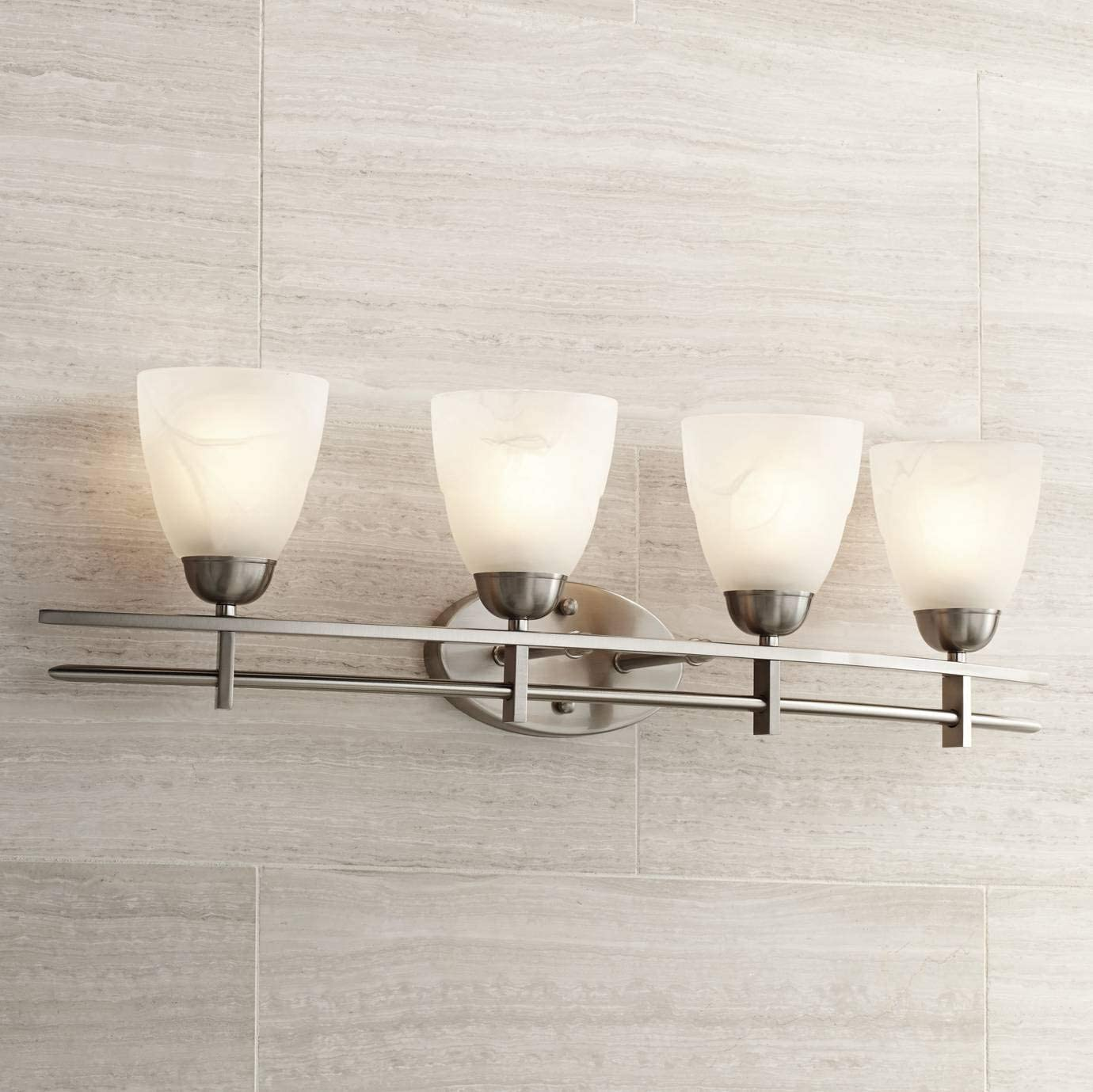 Deco Modern Wall Light Brushed Nickel Hardwired 33 Wide 4-Light Fixture Marbleized Glass Shades for Bathroom Vanity – Possini Euro Design