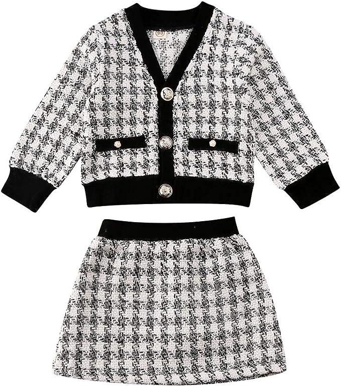 Amazon.com: Conjunto de falda a cuadros para bebé y niña ...