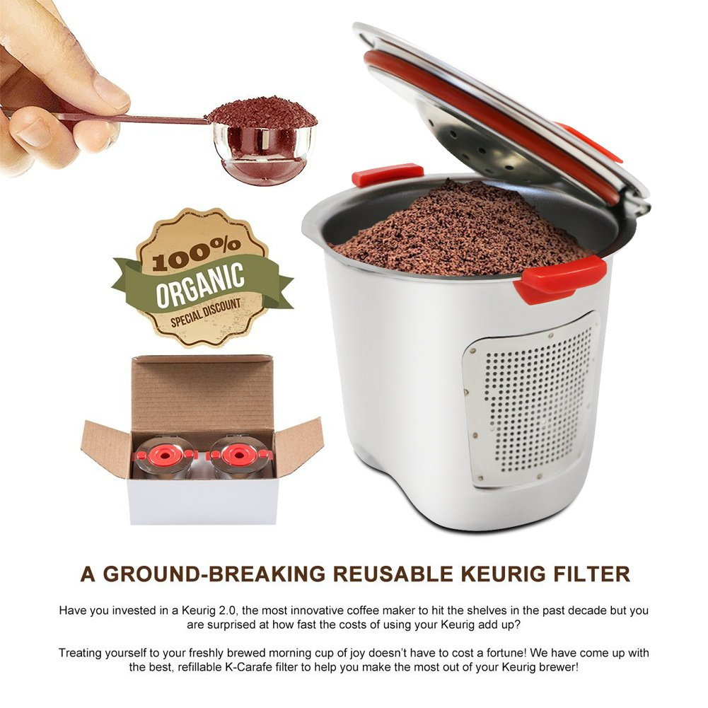 KORSREEL 2 Piece Premium Stainless Steel Reusable K Cups Refillable Coffee Filter, Compatible with Keurig Brewers 1.0 and 2.0 for K200, K300 etc. Series by KORSREEL (Image #6)