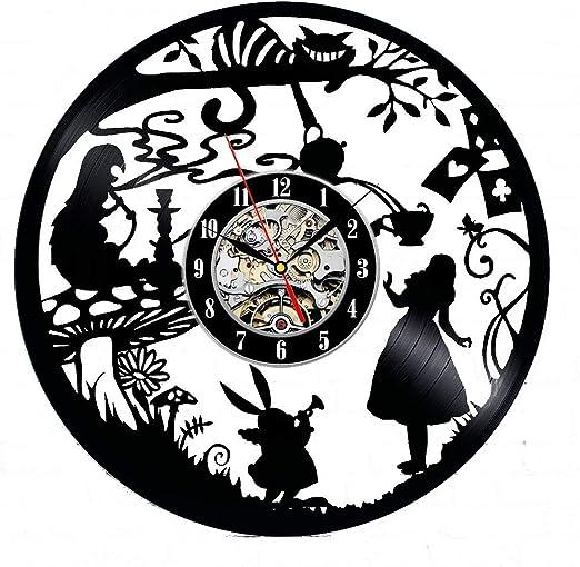 Black  Modern  Alice in Wonderland Home Decor Alice Backwards Clock