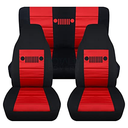 Jeep Wrangler Seat Covers >> 1987 1995 Jeep Wrangler Yj Seat Covers Black Red Full Set Front Rear 23 Colors 1988 1989 1990 1991 1992 1993 1994 2 Door Complete Back Bench