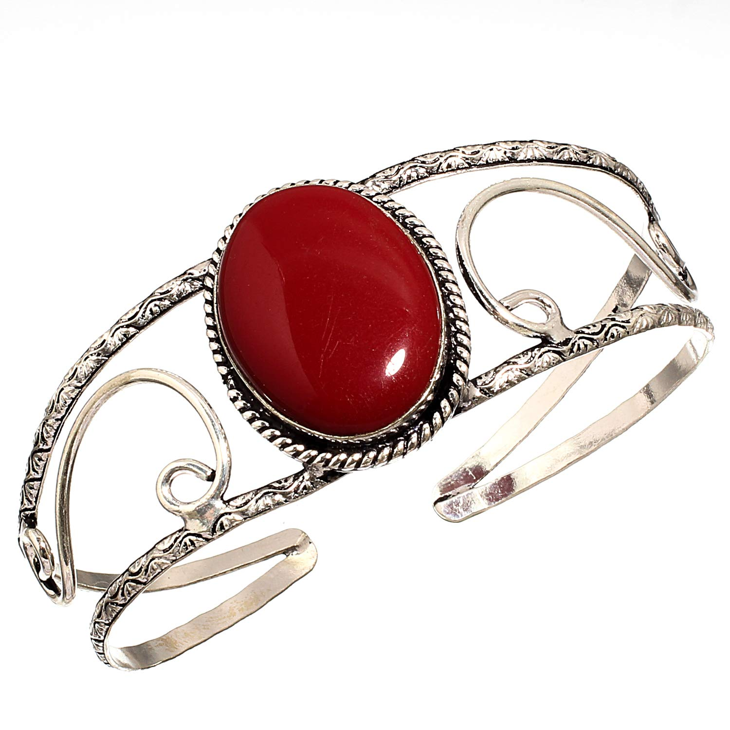 Ethnic Wear Red Coral Sterling Silver Overlay Ring Size 7 US Handmade Jewelry