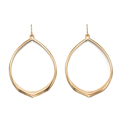 d2e60bd49 Fiorelli Costume E5055, Matt Gold Large Open Teardrop Earrings