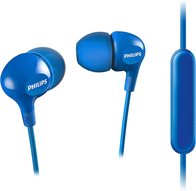 Philips SHE3555BL/00 - Auriculares intrauditivos (Graves Profundos, micrófono Integrado, 2 Tipos de Tapones, Ajuste, Cable Reforzado), Azul