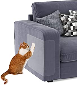Cat Couch Protector - Furniture Protectors from Cats - 8 PCS Double Sided Clear Anti-Scratch Deterrent Pad - Cats Scratch Training Tape - Pet Repellent for Furniture, Door, Walls, Corner Protector