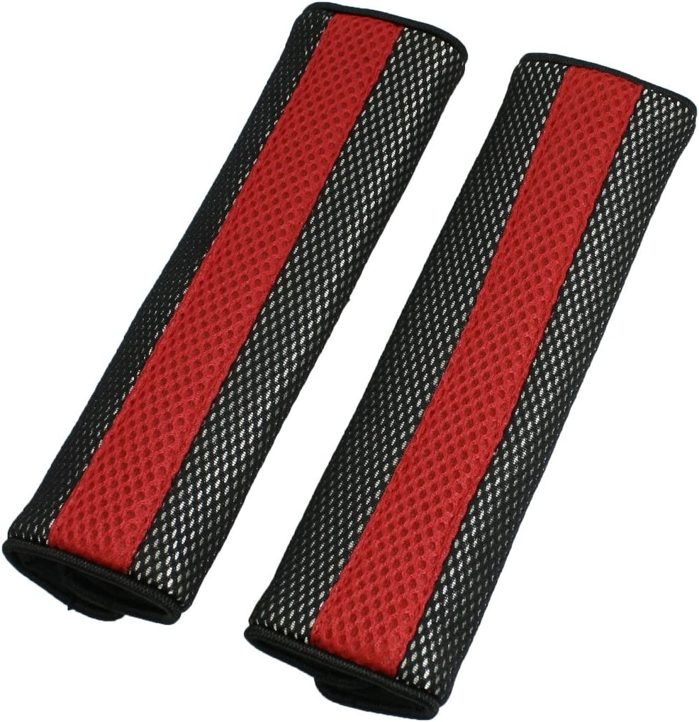 sourcing map Motor Detachable Fastener Red Black Seatbelt Cover Pad Pair