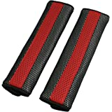 uxcell® Motor Detachable Fastener Red Black Seatbelt Cover Pad Pair