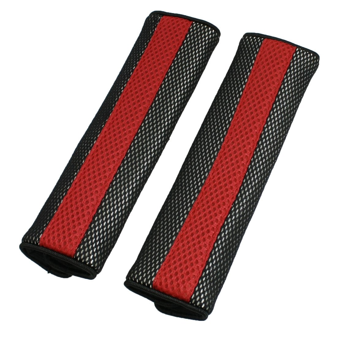 uxcell Motor Detachable Fastener Red Black Seatbelt Cover Pad Pair a13022600ux0380