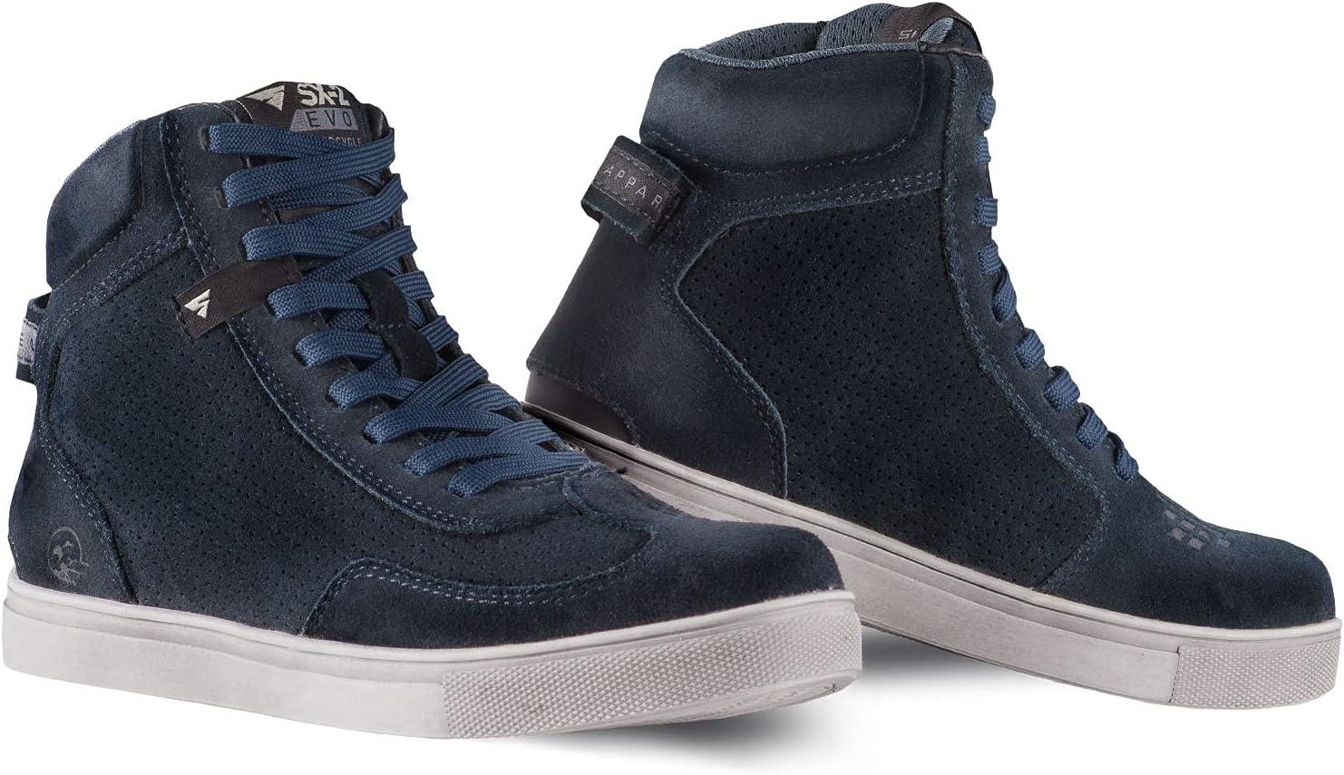 SHIMA SX-2 EVO LADY Botas Moto Mujere - Zapatillas Moto de Cuero, Transpirables, Reforzados con Soporte el Tobillo, Suela Antideslizante, Almohadilla el Engranaje (Azul, 40)