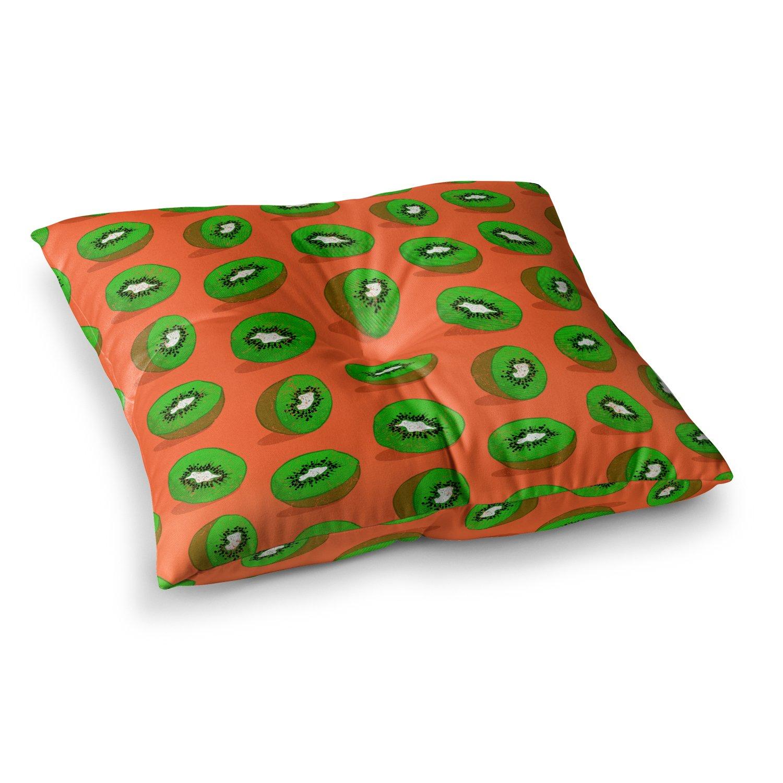 Kess InHouse Evgenia Kiwifruit Orange Green 23 x 23 Square Floor Pillow
